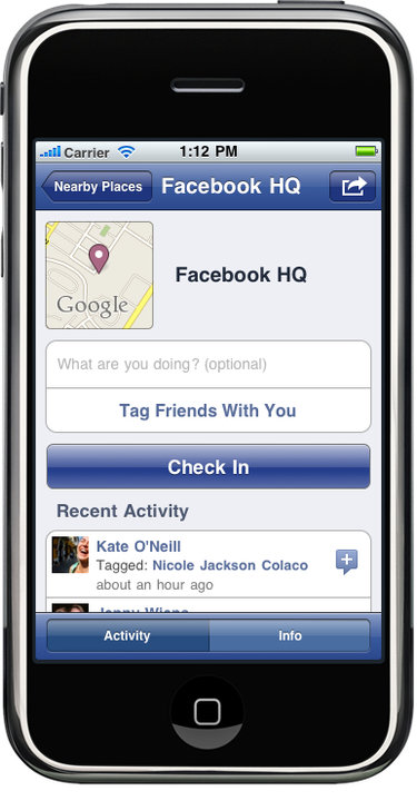Facebook Places - iPhone