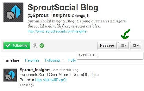 Sprout Social Insights on Twitter List
