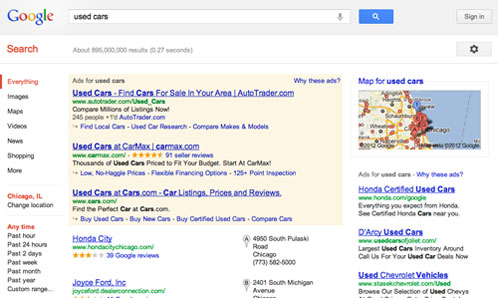 used cars search on Google
