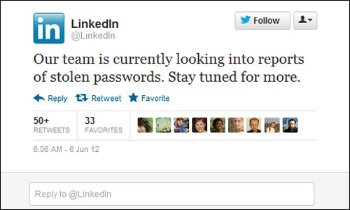 LinkedIn issues warning of breach on Twitter